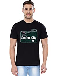 The Souled Store Authentic Brock Lesnar Suplex City Sports Printed Premium BLACK Cotton T-shirt for Men Women and Girls