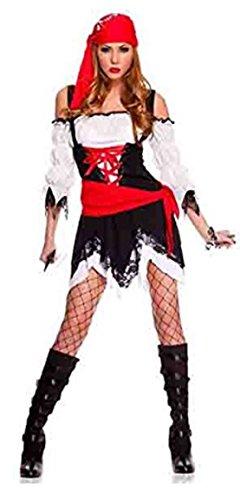 harrowandsmith schwarz weiß rot sexy Piraten Kostüme Cosplay Erwachsene Frau Fancy Kleid Halloween Kleid bis: hslb2108, UK 10