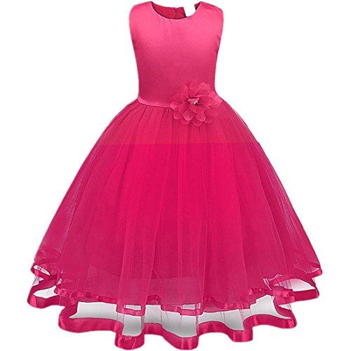 Mädchen Prinzessin Kleid Sannysis Blumenmädchenkleid Mädchen Prinzessin Kinderkleid Partykleid Tutu Tüll Kleid Party Brautkleid (Rosenrot, 120)