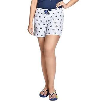 A9 Women's Grey Cotton Printed Shorts