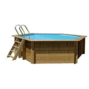 Gre 790083 Piscina con bordi Piscina ottagonale 8700L Blu, Legno piscina fuori terra