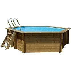 Gre 790083piscine avec bords piscine octogonale 8700l Bleu, bois piscine hors sol