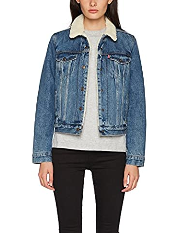 Levi's Women's Original Sherpa Trucker Denim Jacket, Blue (Extremely Lovable 3), X-Large