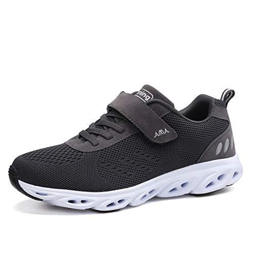 Ulogu Unisex Laufschuhe Outdoor Fitness Schuhe Leicht Atmungsaktiv Turnschuhe-Sneaker mit Klettverschluss, Gr.-42 EU, Dunkelgrau