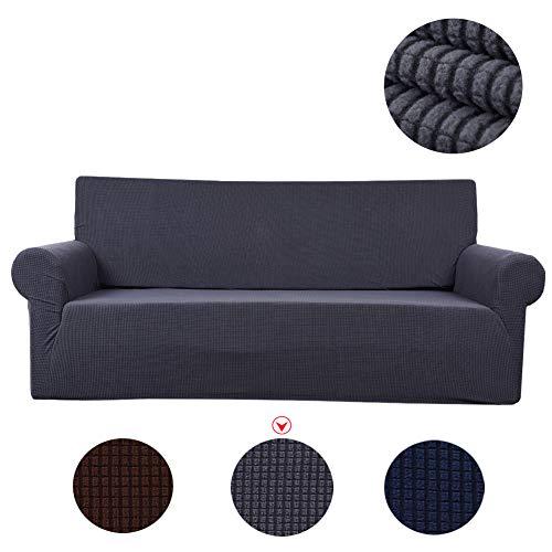 LUOLLOVE Sofa-Überwürfe, 3 Sitze Polyester Elastischer Sofabezug Rutschfest Staubdicht Waschbar (1PC, Grau)