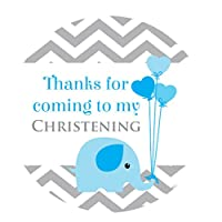 Christening stickers Elephant Chevron design - 30mm diameter, pink, blue or yellow