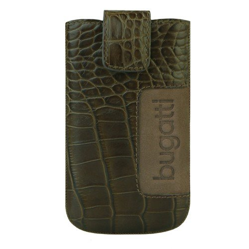 "Bugatti SlimCase leather ""Croco"" for Sony, Samsung, iPhone, BlackBerry®, LG, HTC Handytasche Leder 7,3 cm Unique Carbon"