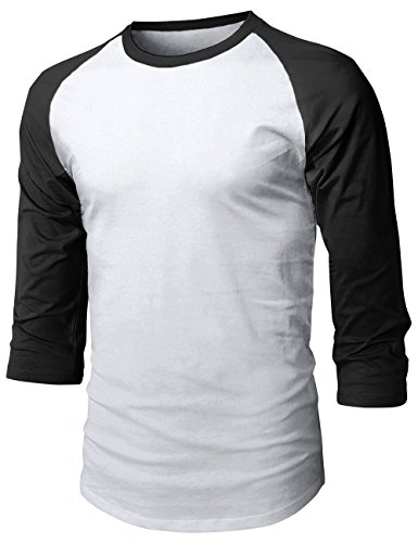 MX Herren Baseball Raglan 3/4 Ärmel Casual Basic Plain T-Shirt, Unisex-Erwachsene Herren, 1hc08_White/Black, Medium -