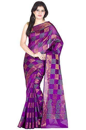Chandrakala Women\'s Traditional Purple Art Silk,Banarasi Style Saree