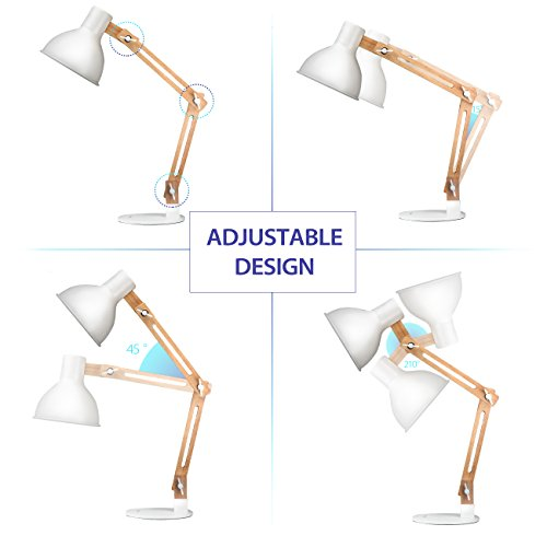 Tomons Scandinavian Swing Arm Desk Lamp, Natural Wood Designer Table Lamp for Office, Living Room, Study and Bedroom, White