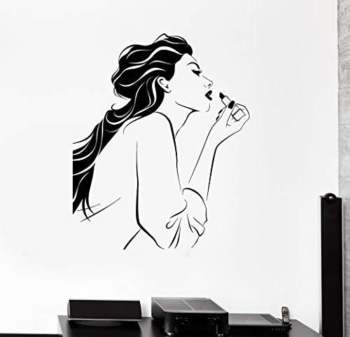 XXPF Wandaufkleber & Wandbilder Beauty Lippenstift Mädchen Schlafzimmer Dekoration Wandaufkleber geschnitzte Wandaufkleber