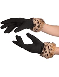 Black With Leopard Faux Fur Gloves - Noir Gants Taille Unique