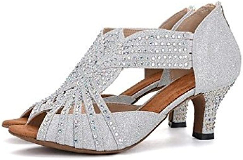 JSHOE Damen Tanzschuhe Latin Salsa / Tango / Tee / Samba / Modern / Jazz Schuhe Sandalen High HeelsWhiteHeeled6.5cm-UK3ö