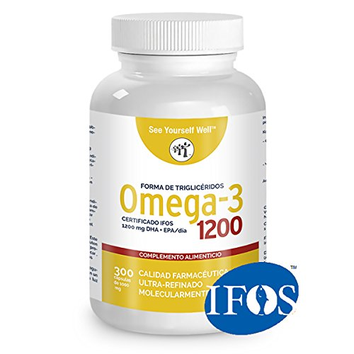 Omega 3 SYW (300 capsule di 1000mg). Certificato IFOS. Modulo di trigliceridi. Molto concentrato: 400 mg di EPA e 200 mg di DHA. Grado farmaceutico, ultra-raffinata, molecolarmente distillata.
