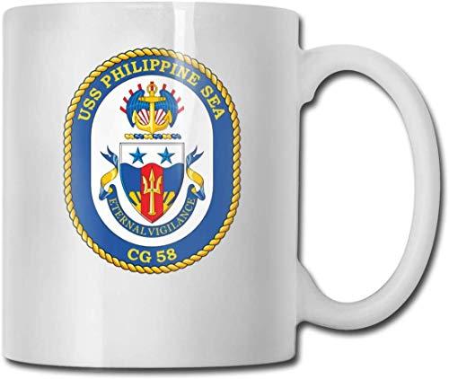 Marine-Kreuzer-Schiffs-CG 58 USS-philippinisches Seeweiß-Kaffeetasse-keramische Tee-Schale Trinkbecher