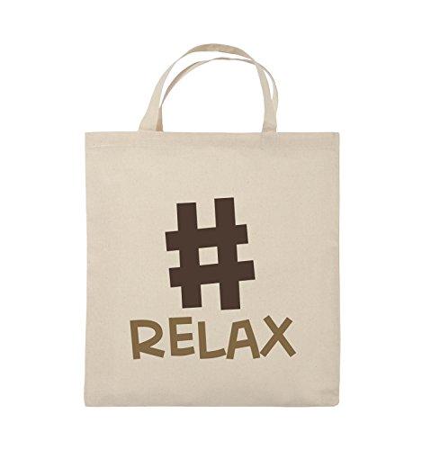 Comedy Bags - #RELAX - Jutebeutel - kurze Henkel - 38x42cm - Farbe: Schwarz / Weiss-Neongrün Natural / Hellbraun-Dunkelbraun