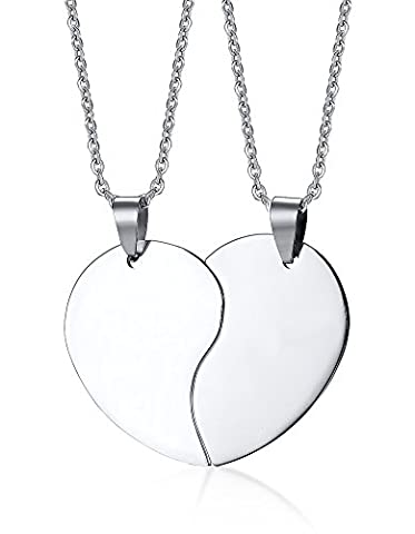 Vnox Freie gravierte 2 Stücke Edelstahl gebrochenes Herz Puzzlespiel Versprechen Verlobungspaar hängende Halskette