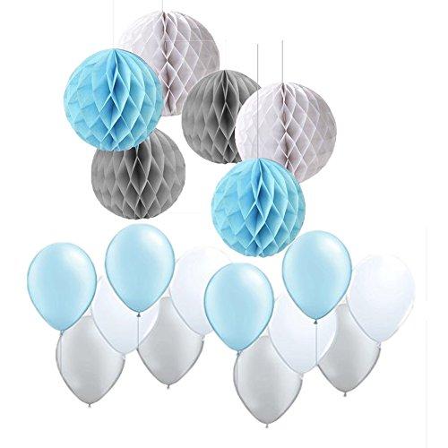 Stricknadel gemischt blau grau weiß Party Ballon Papier, Kugel, mit Waben Boy Elefant Baby Dusche ersten Geburtstag Hochzeit Dusche Party Home Dekoration - Elefanten-dusche
