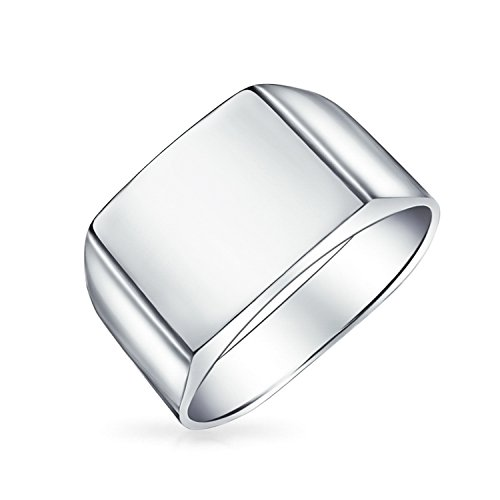 Bling Jewelry Mens Sterling Silber Square Classic Siegelring Band (Sterling Silber Siegelring Männer)