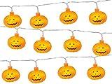 Yonfan 20er LED Kürbis Lichterkette Halloween Lichterkette Batteriebetrieben Warmweiß für Halloween, Weihnachten, Party, Zimmer, Draussen, Innen Haus Dekoration