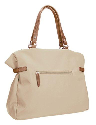 Damenhandtasche von Waipuna aus hochwertigem Nylon, Henkeltasche mit Schlüsselanhänger, Handtasche mit schönen, braunen PU-Leder Details, taupe Beige / Beige