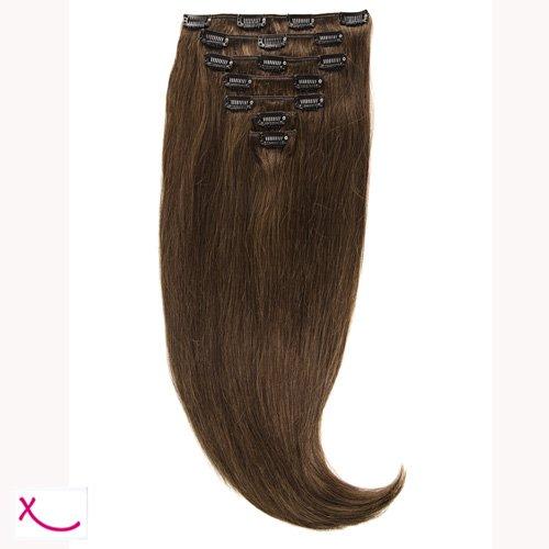 Extiff - Extension cheveux naturel clip lisse - 50cm 100gr - qualité Rémy Hair (4- Chocolat) - 7 bandes au total