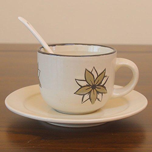 TIANLIANG04 Mugs、Tasses à café Meubles Anciens en Céramique Tasse À Café Tasse De Lait Tasse Tasse Thé Cuillère Parure, D - Le Riz Blanc