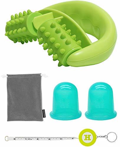 Kit per Massaggi Anti-cellulite (1 Rullo, 2 Coppe, 1 Borsa di Nylon) - Kit per Eliminare la Cellulite e l\'Effetto Buccia d\'Arancia, Riduce depositi di Grasso e Migliora la Circolazione, Handy Picks