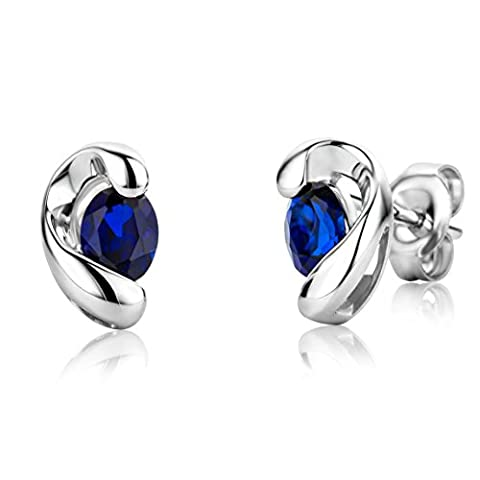 Miore Gold Earrings 9ct White Gold Sapphire Studs MG9205E