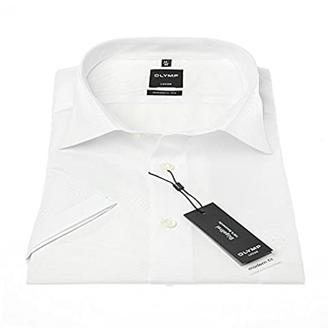 Olymp Luxor Herren Modern Fit Hemd, 0300/12/00, Halbarm, Weiß,