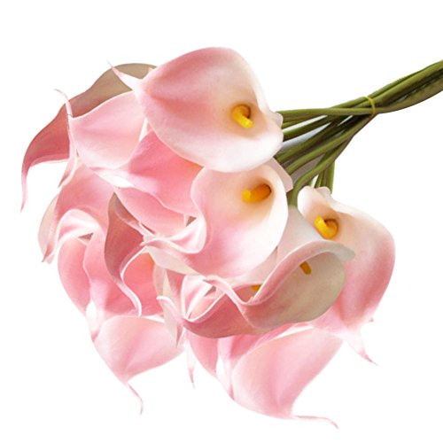 10 Stück JUYUAN-EU Calla künstliche Blumen mit Blätter Dekoriere Kunstblumen Latex Real Touch Bridal Wedding Bouquet Home Decor Hell Rosa Bouquet Serviette