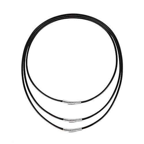 AIM Cloudbed 3PCS Collar con cordón de Cuero 3mm Collar de Cuero Artificial Negro Trenza 316 Cierre de Acero Inoxidable Cadena de Cuero de Cera para Hombres y Mujeres