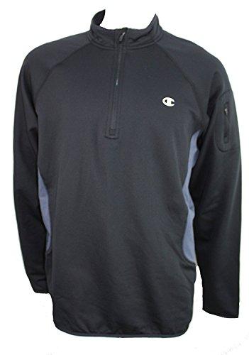 Champion Mens Quarter Zip Sweater Black w/Grey