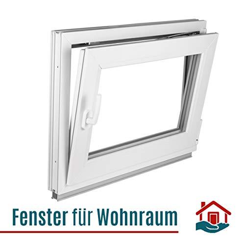 Fenster Kellerfenster Kunststofffenster Breite: 75 cm - BxH: 75x45 cm DIN Rechts - 2 fach Verglasung Alle Größen Dreh Kipp Weiß - Premium