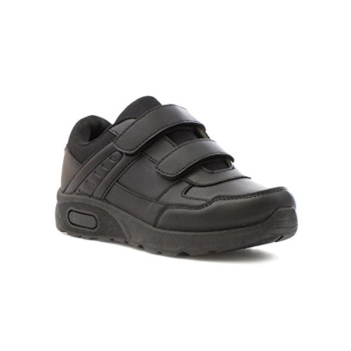 Tick Boys Black Double Touch Fasten Trainer - Size 6 - Black