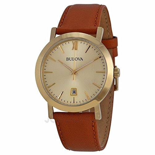 Bulova Bulova Vestido Champagne Dial Brown Cuero Unisex Reloj 97B135