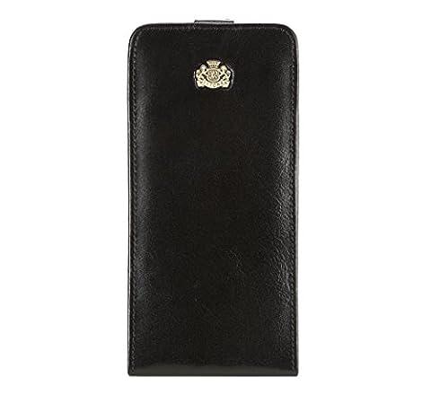 WITTCHEN Damen Etui für iPhone 6 Plus Handtaschenhalter, 1.5x8x16.5 cm, Schwarz, Naturleder, Lackleder, Leder, Handmade, (Soy Tabletten)