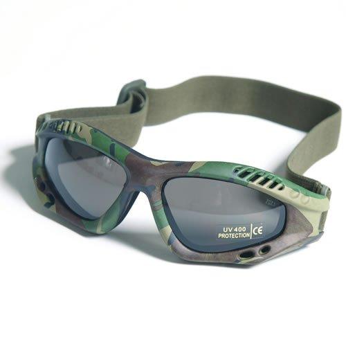 G8DS® Sportbrille Commando Brille AIR PRO Gläser Smoke oder Klar Softair Schiess- und Outdoorbrille Armee Arbeitsschutzbrille (Woodland / Smoke)