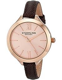 Stührling Original 975.04 - Reloj analógico para mujer, correa de cuero, color marrón