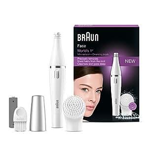 Braun Face Gesichtsepilierer und Gesichtsreinigungsbürste 810, silber/weiß