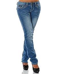 Damen Jeans Straight Leg (Gerades Bein Dicke Nähte Naht weitere Farben) No 12923