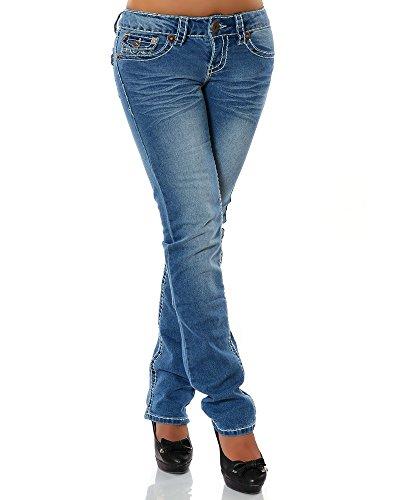 Damen Jeans Straight Leg (Gerades Bein Dicke Nähte Naht 17 Farben) No 12923, Größe:44;Farbe:Blau
