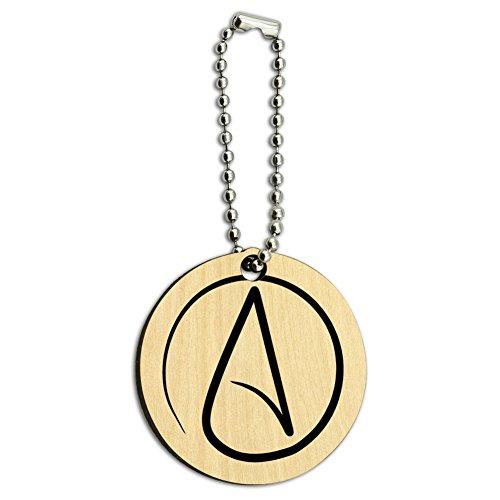 UNIVERSUM Atheist Symbol Holz rund Schlüssel Kette