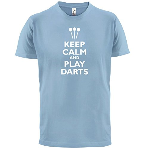 Keep Calm and Play Darts - Herren T-Shirt - 13 Farben Himmelblau