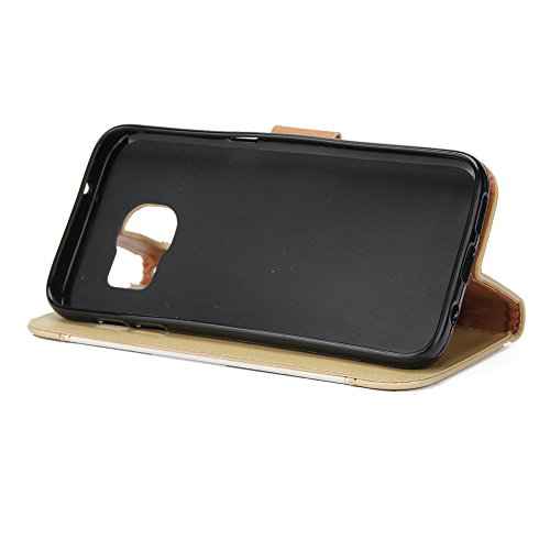 EKINHUI Case Cover Dual Color Matching Premium PU Leder Flip Stand Case Cover mit Card Cash Slots und Lanyard für Samsung Galaxy S7 ( Color : Blue ) White