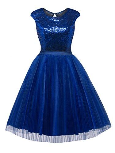 Selighting Vestidos Mujeres Corto Sin Espalda Bodycon Coctel Vestido De Fiesta (Azul, 46)