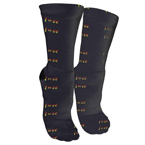 Jxrodekz Unisex Colorful Patterned Socken Compression Socken for Rasta Lion Jamaican Reggae Love.jpg Crew Socken