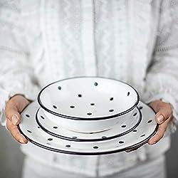 City to Cottage Juego de vajilla de cerámica, 12 Piezas, diseño de Lunares Blancos y Negros, para 4 Platos de Cena, Platos Laterales, Cuencos, Regalo de inauguración de la casa