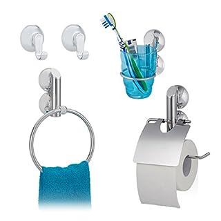 4 tlg. Badgarnitur Set, Toilettenpapierhalter, Handtuchhalter, Zahnputzbecherhalter, Wandhaken, ohne Bohren, silber