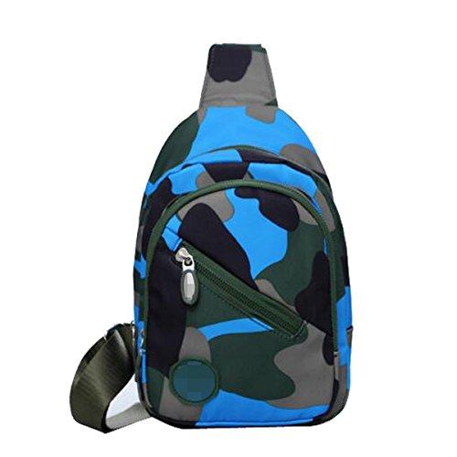 Unisex Dell'acqua Casuale Sacchetto Della Prova Di Corsa Esterna Mimetica Spalla Propenso Torace Borse Multicolore Blue2